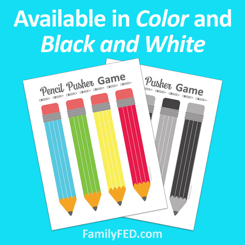 Pencil Pusher Game for Back-to-School Fun or Family Game Night. Available in two colors