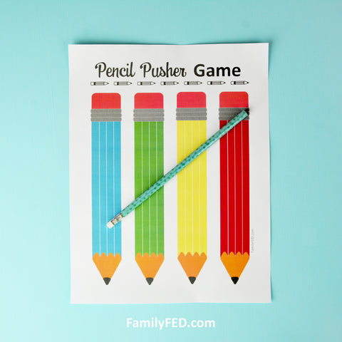 1. Take turns rolling an actual pencil onto the game board.