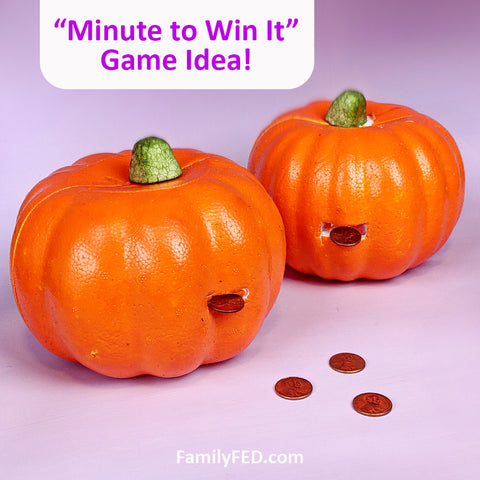 """Penny Pumpkins"" Halloween Party Game—""Minute to Win It"" Game Style with Dollar Tree Pumpkins!"