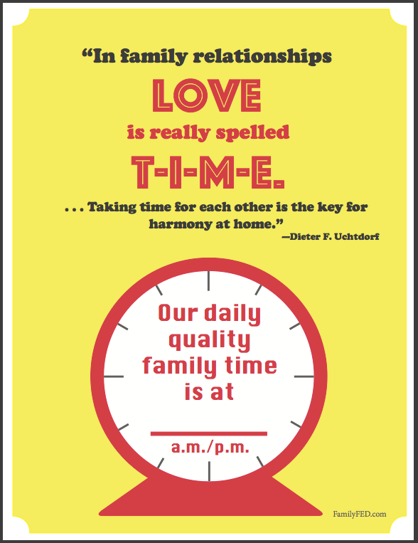 Quality Family Time Reminder Chart 2 by Family F.E.D.