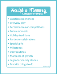 Game prompts for Sculpt a Memory game by Family F.E.D.