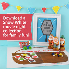 Download a Snow White party collection for a Disney+ family movie night!