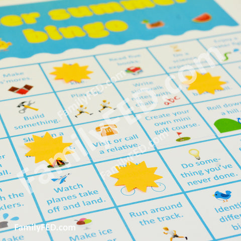 Create bingo markers by cutting or punching shapes from the sticky part of sticky notes.