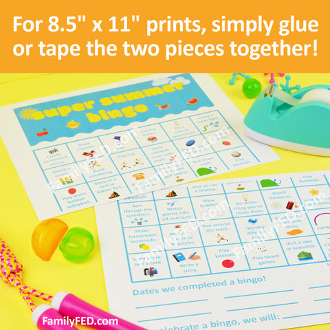 "Tape the two 8.5"" x 11"" sheets together to create an 11"" x 17"" print for the Super Summer Bingo activity"