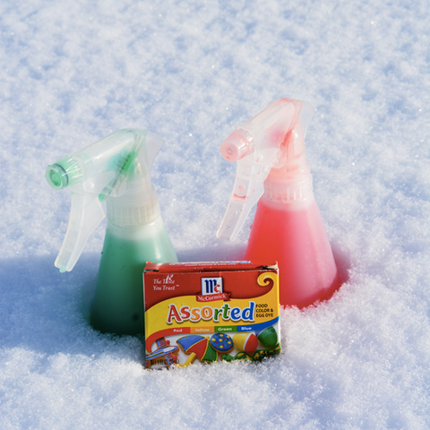 Supplies for Tic-Tac-Snow (water bottles, water, and food coloring)