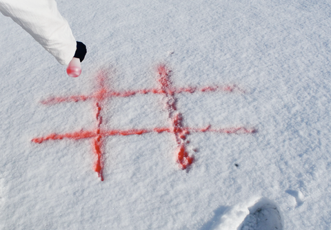 Spray a tic-tac-toe grid in the snow