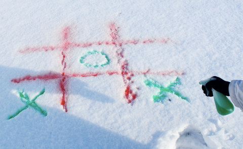 Play Tic-Tac-Snow (tic-tac-toe) in the snow with a spray bottle and food coloring