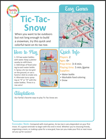 How-to instructions for Tic-Tac-Snow from Family F.E.D.