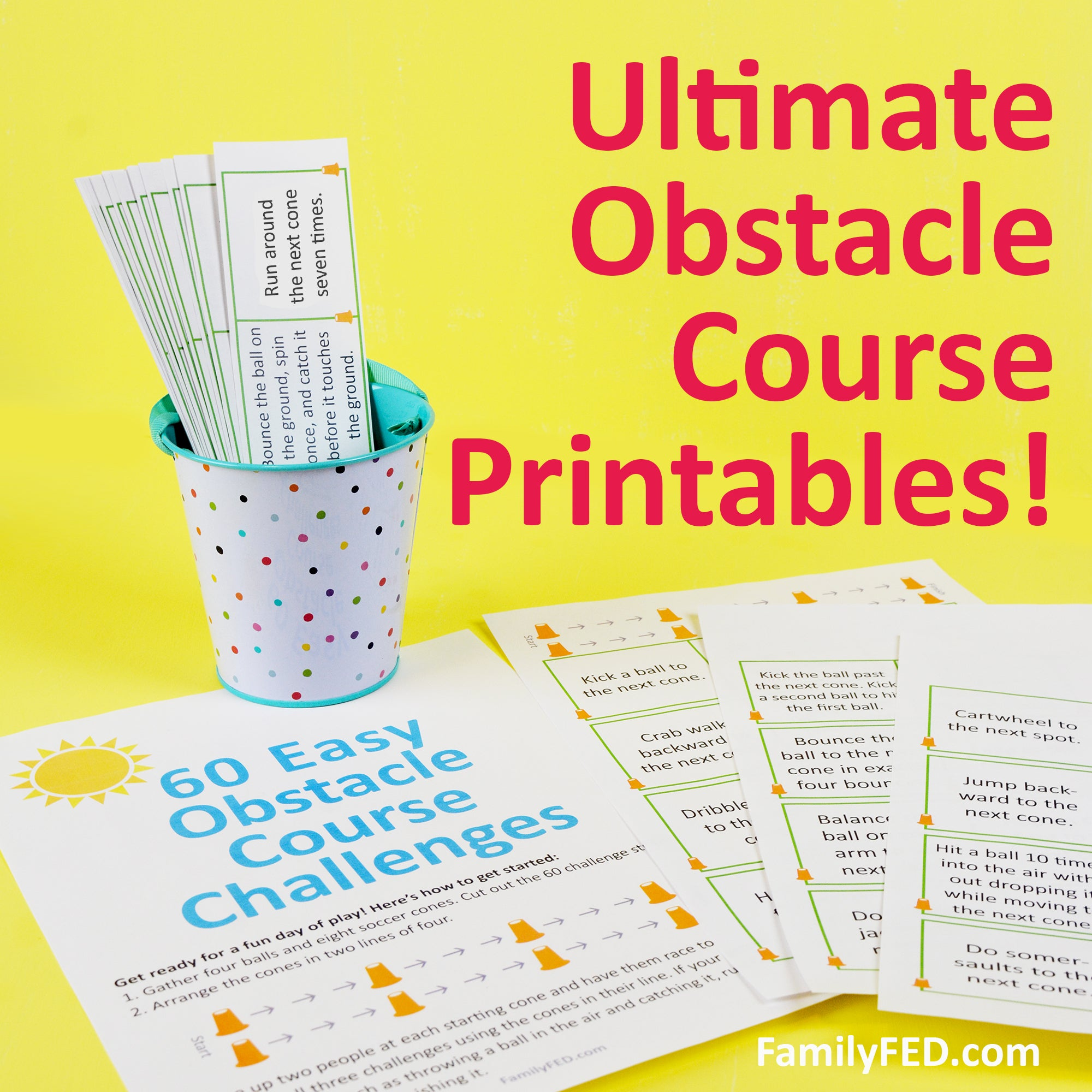 60 Easy & Fun Outdoor Obstacle-Course Challenge Printables for Summer Play