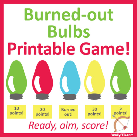 .Burned-out Bulbs printable Christmas game—easy Christmas party idea!