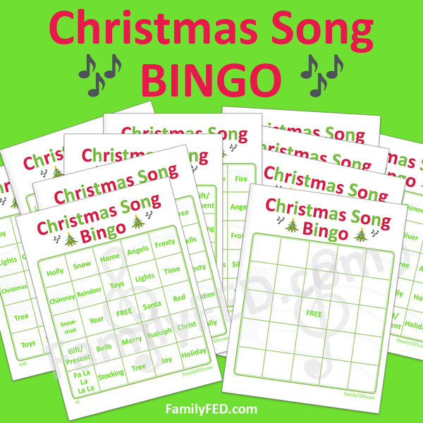 .Christmas Song Bingo! 10 printable cards plus a bonus blank board for personalization