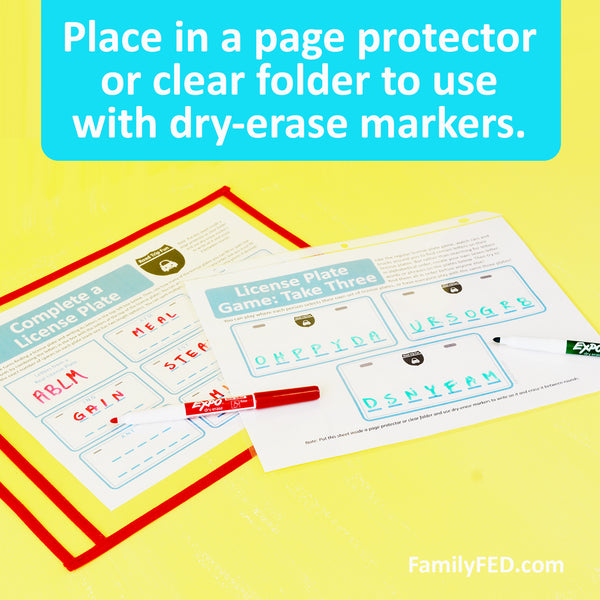 You can also bring along a clear folder or page protector for each person and some dry-erase markers (we use these) to keep the printouts reusable through the whole trip.