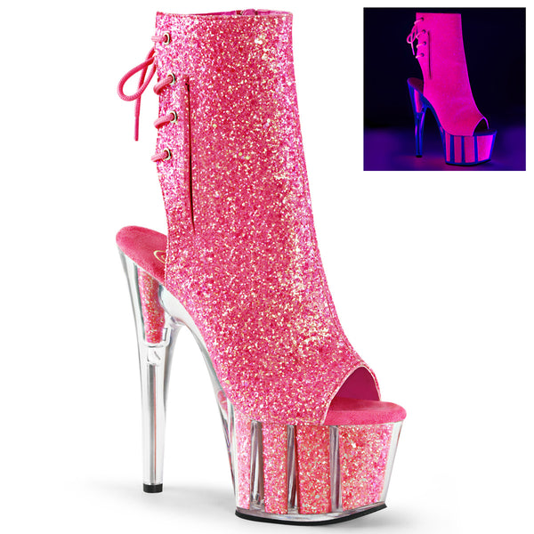 7 Inch Heel, 2 3/4 Inch Platform Blacklight Reactive Ankle Boot - ADORE-1018G
