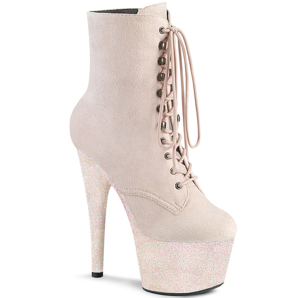 7 Inch Heel, 2 3/4 Inch Platform Lace-Up Front Ankle Boot, Side Zip - ADORE-1020FSMG