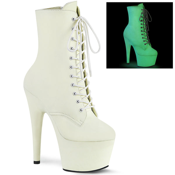 7 Inch Heel, 2 3/4 Inch Platform Lace-Up Front Ankle Boot, Side ZIp - ADORE-1020GD