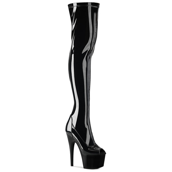 7 Inch Heel, 2 3/4 Inch Platform Peep Toe Thigh High Boot, Side Zip - ADORE-3011