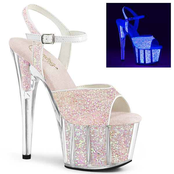 7 Inch Heel, 2 3/4 Inch Platform Ankle Strap Sandal w/Glitter Inserts - ADORE-710UVG
