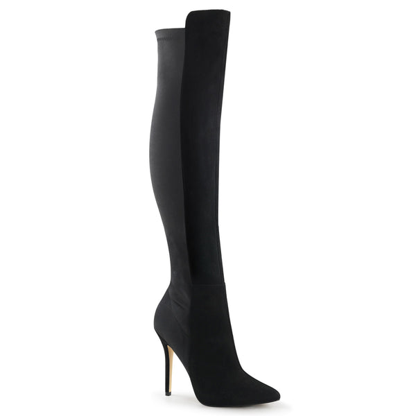 5 Inch Heel, 3/8 Inch Hidden Platform Pull-On Over-The-Knee Boot - AMUSE-2018