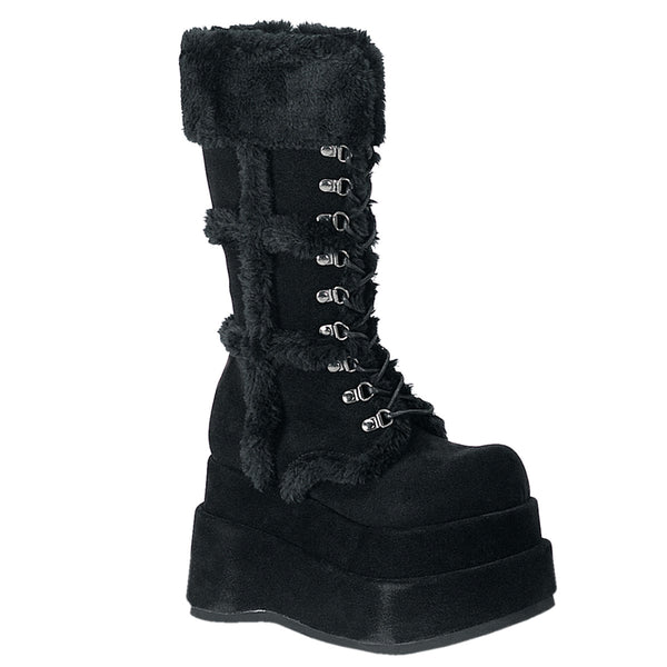 4 1/2 Inch Platform Goth Punk Stacked Vegan Suede Calf BT - BEAR-202