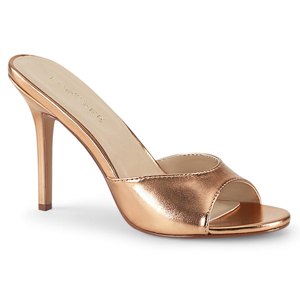 CLASSIQUE-01 Rose Gold Slide Sandals by Pleaser Shoes