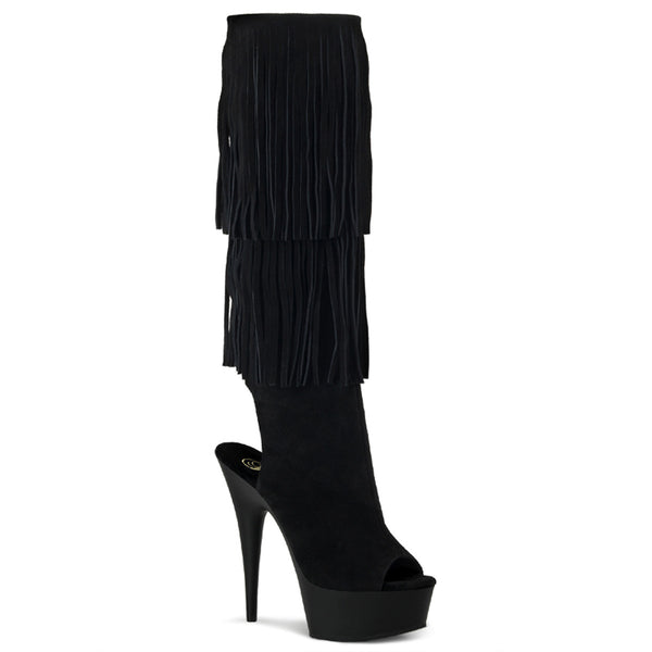 6 Inch Heel, 1 3/4 Inch Platform Open Toe/Back Fringed Knee Boot - DELIGHT-2019