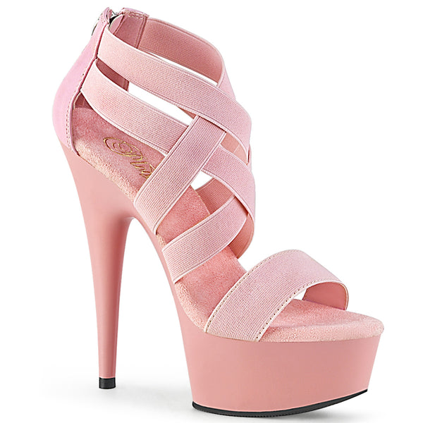 6 Inch Heel. 1 3/4 Inch Platform Criss Cross Sandal, Back Zip - DELIGHT-669