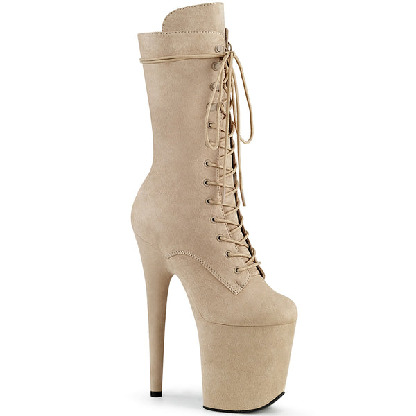8 Inch Heel, 4 Inch Platform Lace-Up Front Mid Calf Boot, Side Zip - FLAMINGO-1050FS