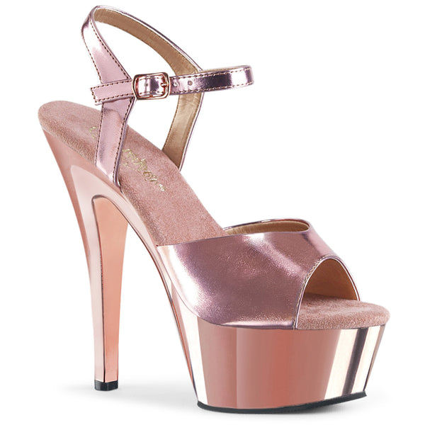6 Inch Heel, 1 3/4 Inch Chrome Plated Platform Ankle Strap Sandal - KISS-209