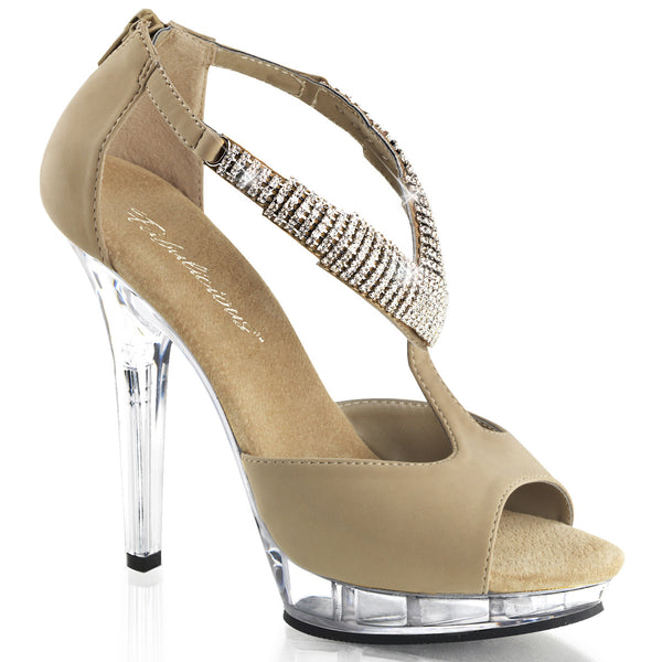 5 Inch Heel, 3/4 Inch Platform Peep Toe Close Back Sandal - LIP-155