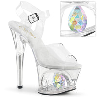 7 Inch Heel, 2 3/4 Inch Cut-Out Platform Ankle Strap Sandal w/ Diamond - MOON-708DIA
