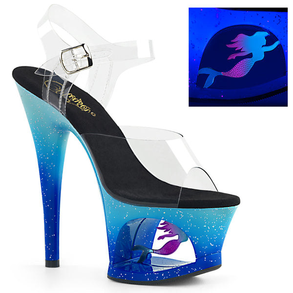 7 Inch Heel, 2 3/4 Inch Cut-Out Platform Ankle Strap Sandal w/ Mermaid - MOON-708MER
