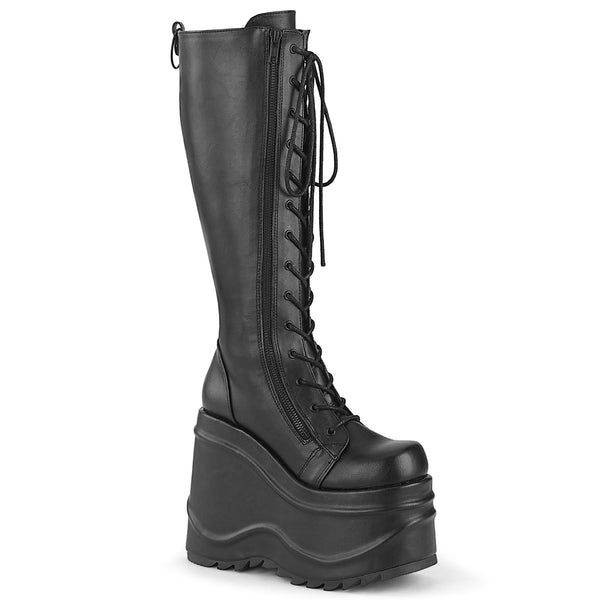 6 Inch Wedge Platform Lace-Up Knee High Boot, Back Metal Zip - WAVE-200