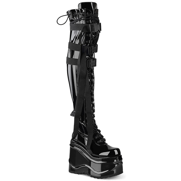6 Inch Wedge Platform Lace-Up Stretch Thigh Boot, Side Zip - WAVE-315
