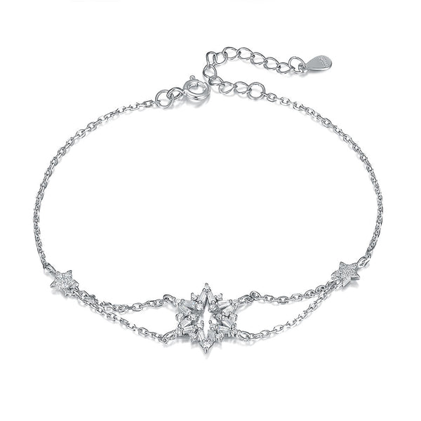 Snowflake Bracelet Snow and Star Charm in 18K Gold Plated Sterling Silver with CZ for Women