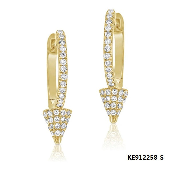 14K Gold Tone Sterling Silver Earring Studs with Clear CZ Stones