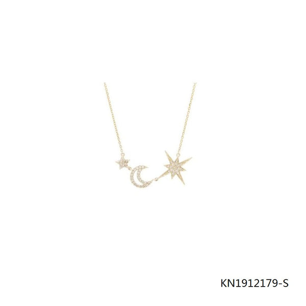 14K Gold Plated  Sterling Silver Cubic Zirconia Moon and Star Necklace