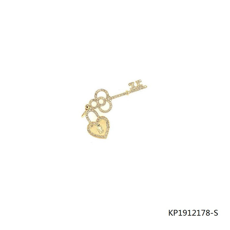 14K Gold Plated CZ Sterling Silver Key and Lock Pendant