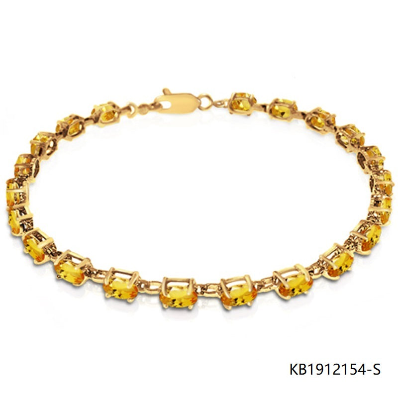 14K Gold Plated Sterling Silver Tennis Bracelet with Yellow CZ stones