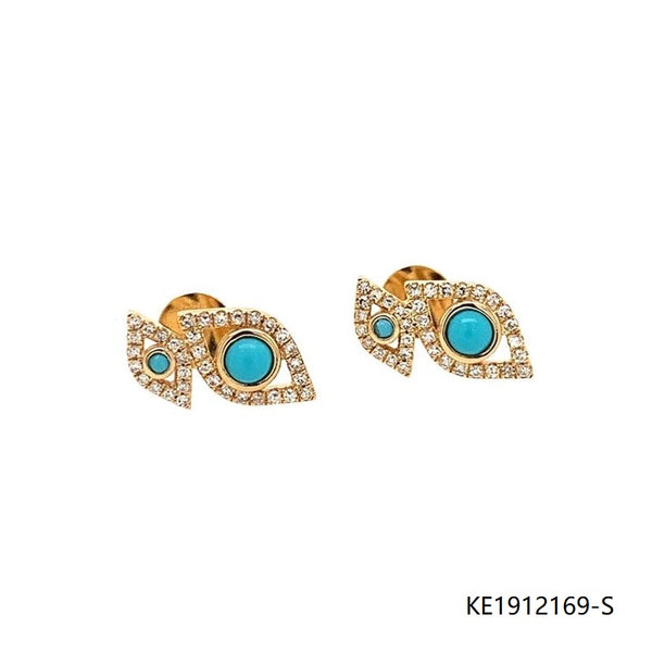 14Kt Gold Plated CZ Turquoise Sterling Silver Earring Studs