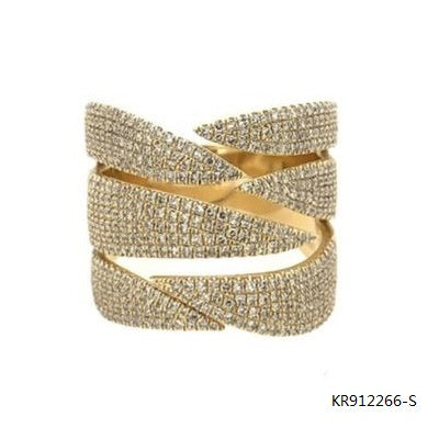 14K Yellow Gold Plated Cubic Zirconia Stones Open Band Ring in Sterling Silver