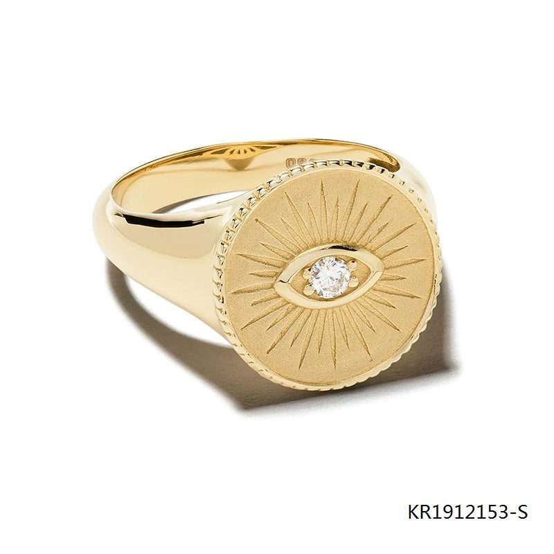 14kt yellow gold plated marquis cubic zirconia signet ring