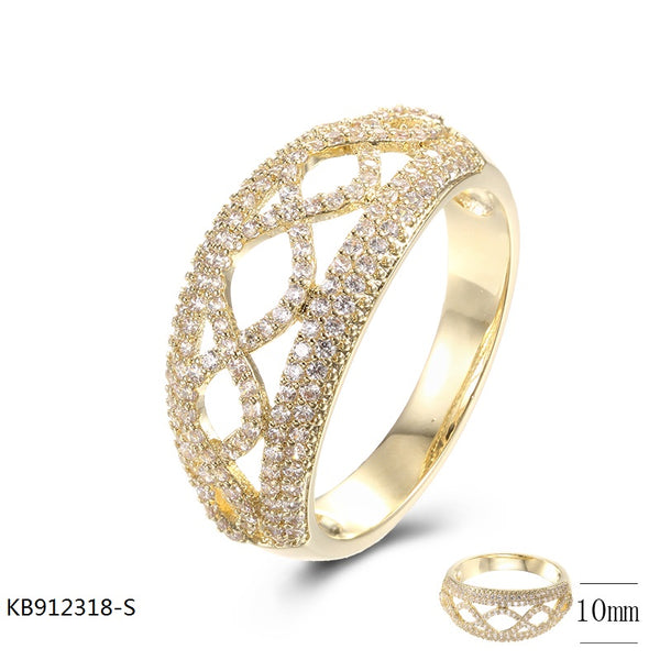 18K Gold Plated Sterling Silver Band Ring with CZ Stones for Wedding