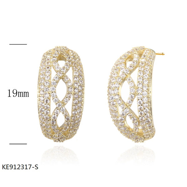 18K Gold Plated Sterling Silver Earrings with Clear CZ Stones for Wedding