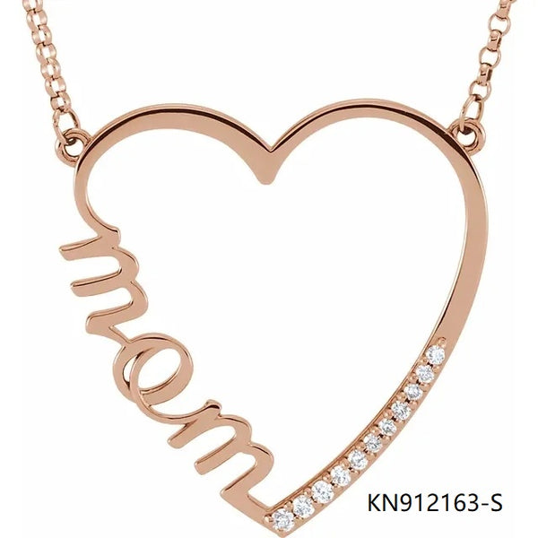 Rose Gold Sterling Silver Necklace In MOM Cubic Zirconia Pendant