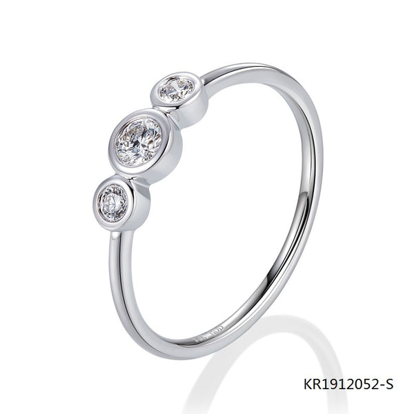 KadArt 3 CZ Stones Sterling Silver Engagement Ring