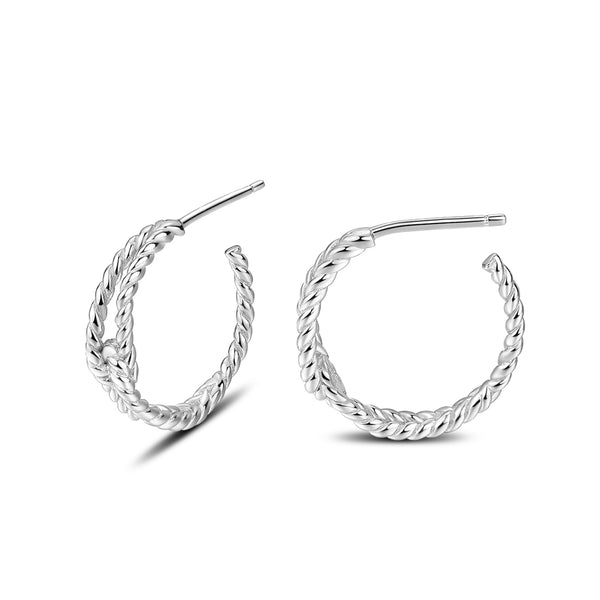 Twisted Half Hoop Earrings in 18K Gold Plated Sterling Silver for Girls Women