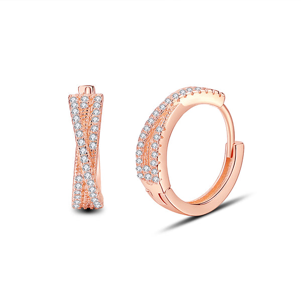 S925 CZ Small Hoop Earrings Twist Earrings