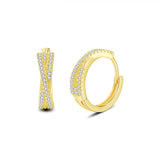 13mm Small Hoop Earrings Twist Earrings in 18K Gold Plated Sterling Silver with 5A CZ