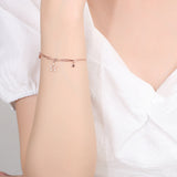 Adjustable rose gold plated S925 Sterling Silver Star Charm Bracelet