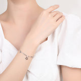 Adjustable S925 Sterling Silver Star Charm Bracelet white gold on model girl